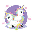 cute valentine card with fairy unicorns in love vector image vector image