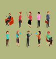 different office people sitting and standing vector image