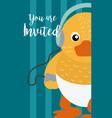 duck cute animal cartoon invitation card vector image