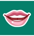 Female cartoon lips with a broad smile icon sign vector image vector image