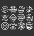 fishing sport monochrome icons for tackle store vector image vector image