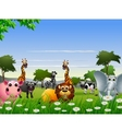 funny animal cartoon with nature background vector image vector image