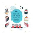 hand drawn delicious food dessert collection cake vector image