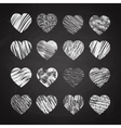 Hand drawn hearts on chalkboard vector image vector image