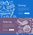 hand drawn sewing elements banners vector image vector image