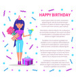 happy birthday poster woman cocktail bouquet vector image vector image