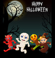 happy halloween costumes with red devil mummy pu vector image vector image