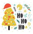 ho card with a cute christmas tree in santa vector image vector image