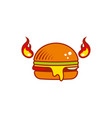 hot flat burger with horns and fire vector image vector image