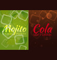 ice mojito and cola poster vector image vector image