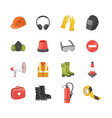 icons set of safety equipment for work and vector image