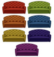 isolated set sofa in seven colors vector image