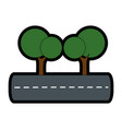 isolates trees on highway vector image vector image