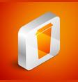 isometric coffee cup icon isolated on orange vector image