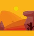 landscape desert rocks cactus arid sun theme scene