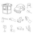 parking for cars outline icons in set collection vector image vector image
