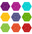 pearl shell icons set 9 vector image vector image