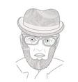 portrait of mature men zen tangle aged person vector image vector image