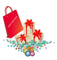 Red Paper Shopping Bag with Gift Boxes vector image vector image