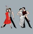 romantic dancing couples vector image vector image