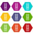 shop icon set color hexahedron vector image vector image