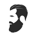 silhouette a bearded man hipster style barber vector image
