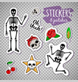 skeleton stickers on transparent background vector image