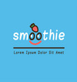 smoothie logotype with funny face vector image