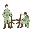 soldier kids in uniform at war vector image vector image
