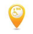 toilet5 map pointer yellow drop vector image vector image