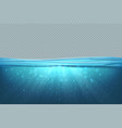 transparent underwater background realistic blue vector image vector image