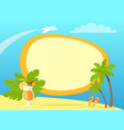 tropical island with palms and yellow flip flops vector image vector image