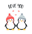 valentines card with cute penguins vector image