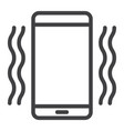 phone vibrating line icon web and mobile vector image