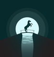 Silhouette of a horse standing on its hind legs on vector image
