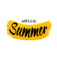 black lettering hello summer - yellow grunge shape vector image