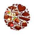chocolate heart poster template of confectionery vector image