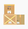 logistics flat icon of wooden or cardboard vector image