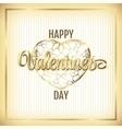 Valentine elegant golden frame with hearts and vector image