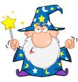 Angry Wizard Waving With Magic Wand vector image vector image