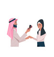 arab man holding engagement ring proposing arabic vector image vector image