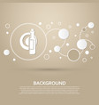 beer wine bottle on a brown background with vector image vector image