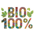 bio 100 percent decorative zentangle vector image vector image