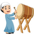 cartoon muslim boy hitting bedug vector image