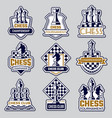 chess emblem sport club logo with symbols vector image vector image