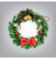 Christmas wreath with bells vector image vector image