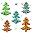 colored polygonal christmas trees on a white vector image