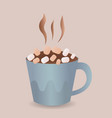 colorful poster with blue mug of hot chocolate vector image vector image