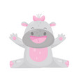cute adorable smiling hippo with a pink bow vector image vector image