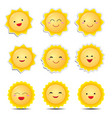 cute cartoon sun emoticons vector image vector image